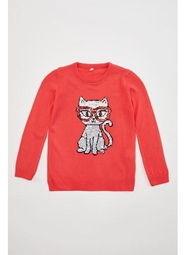 DeFacto Kız Çocuk Kedi Fügürlü Pul Payet İşlemeli Triko Kazak Kırmızı